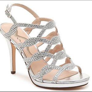 Nina Roisin Silver Metallic & Rhinestone Sandal